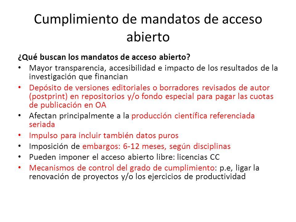 Cumplimiento de mandatos de acceso abierto