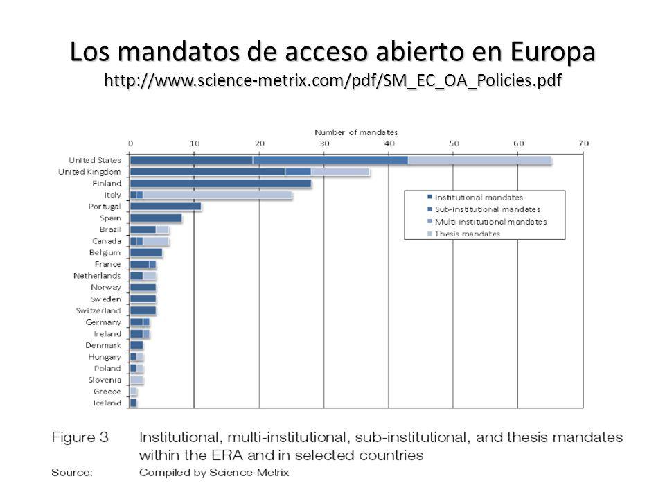 Los mandatos de acceso abierto en Europa http://www. science-metrix