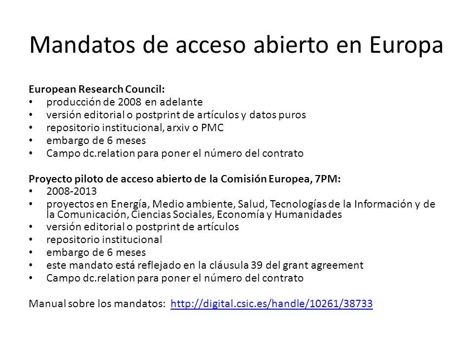 Mandatos de acceso abierto en Europa