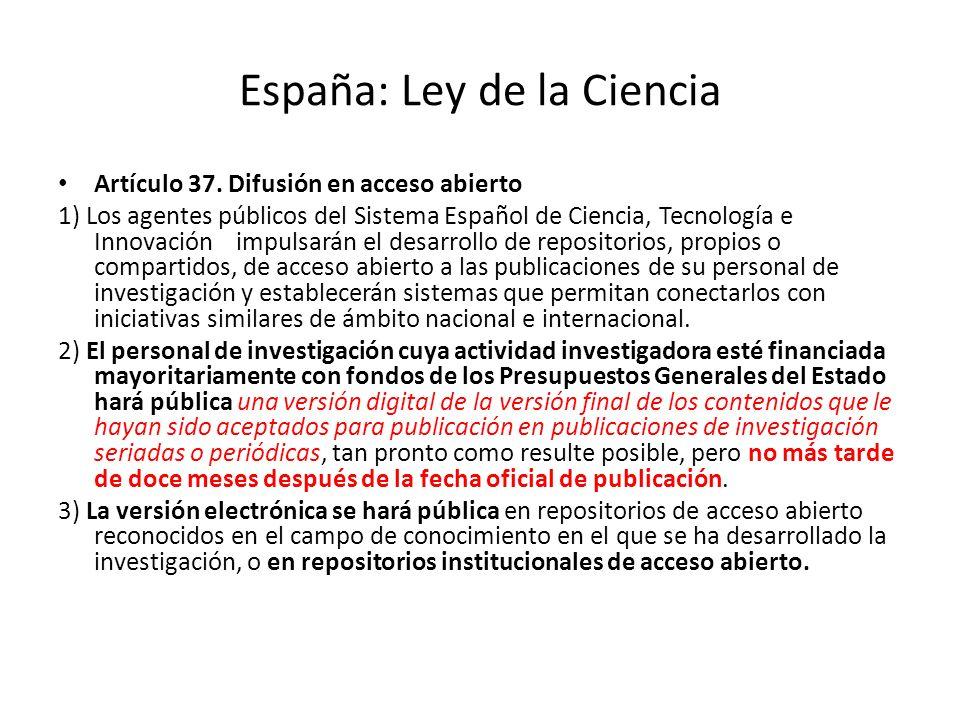 España: Ley de la Ciencia