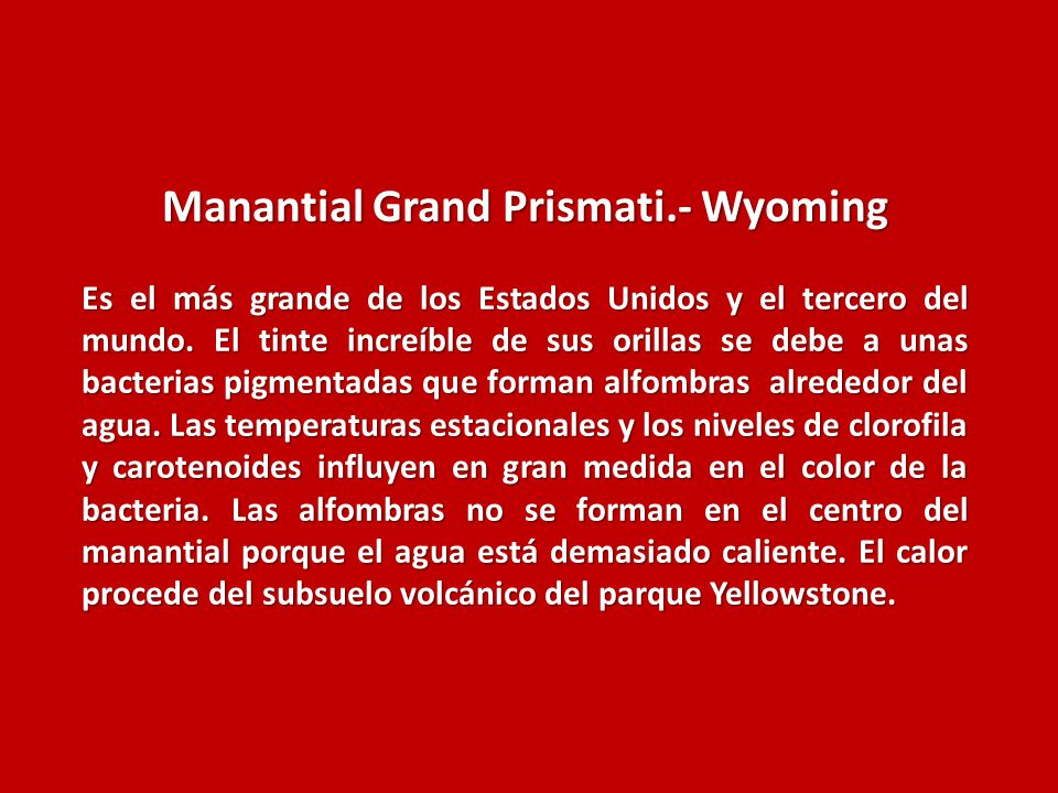 Manantial Grand Prismati.- Wyoming