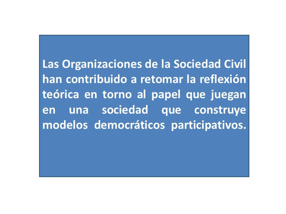 Las Organizaciones de la Sociedad Civil han contribuido a retomar la reflexión teórica en torno al papel que juegan en una sociedad que construye modelos democráticos participativos.