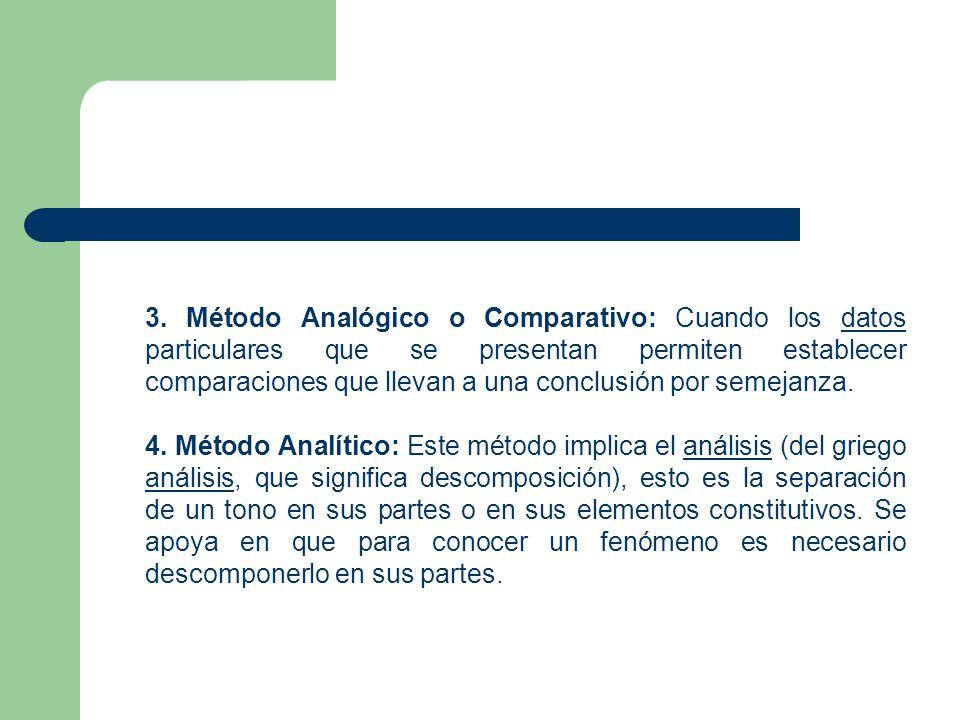 3. Método Analógico o Comparativo: Cuando los datos particulares que se presentan permiten establecer comparaciones que llevan a una conclusión por semejanza.