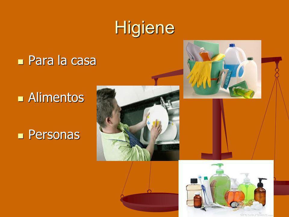 Higiene Para la casa Alimentos Personas