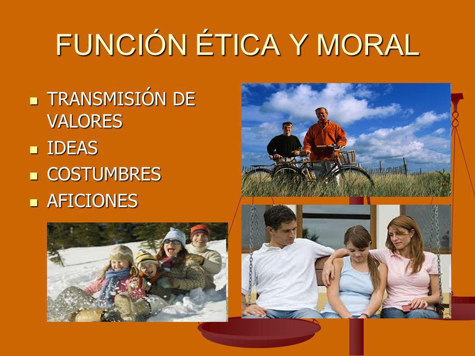 FUNCIÓN ÉTICA Y MORAL TRANSMISIÓN DE VALORES IDEAS COSTUMBRES