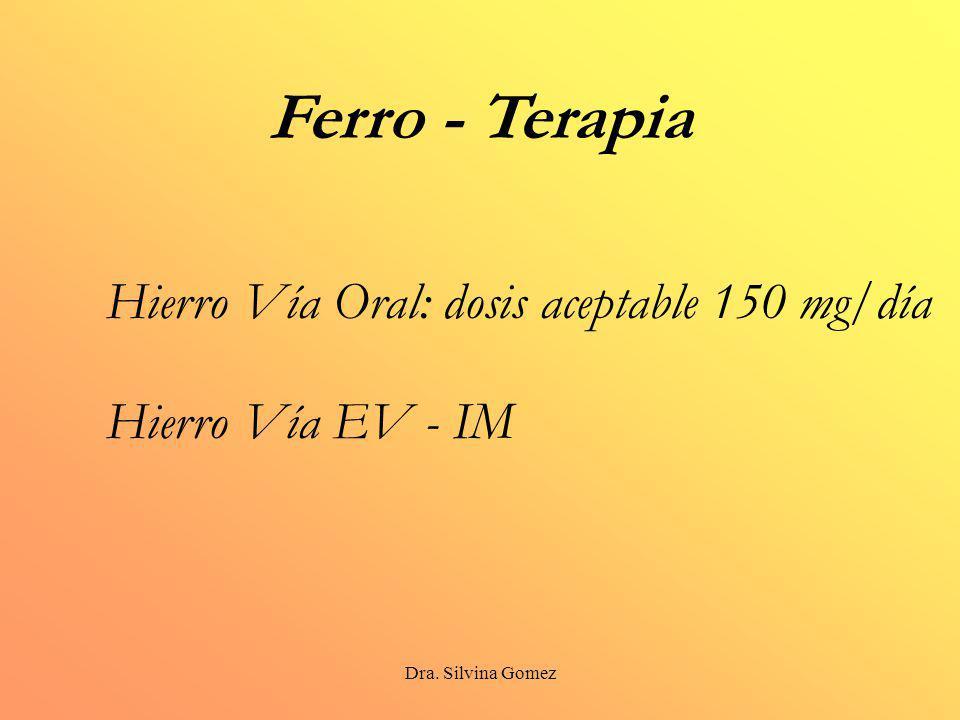 Ferro - Terapia Hierro Vía Oral: dosis aceptable 150 mg/día
