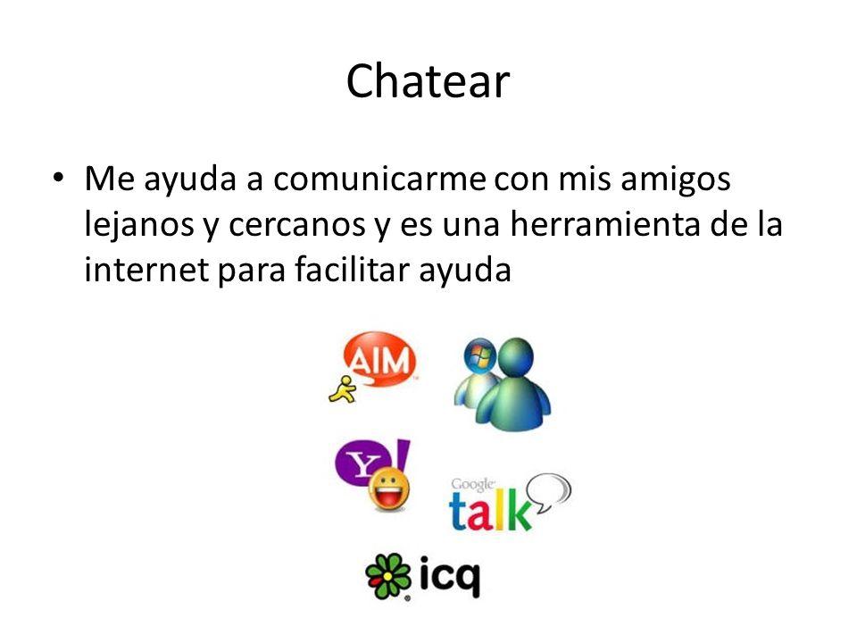Chatear Me ayuda a comunicarme con mis amigos lejanos y cercanos y es una herramienta de la internet para facilitar ayuda.