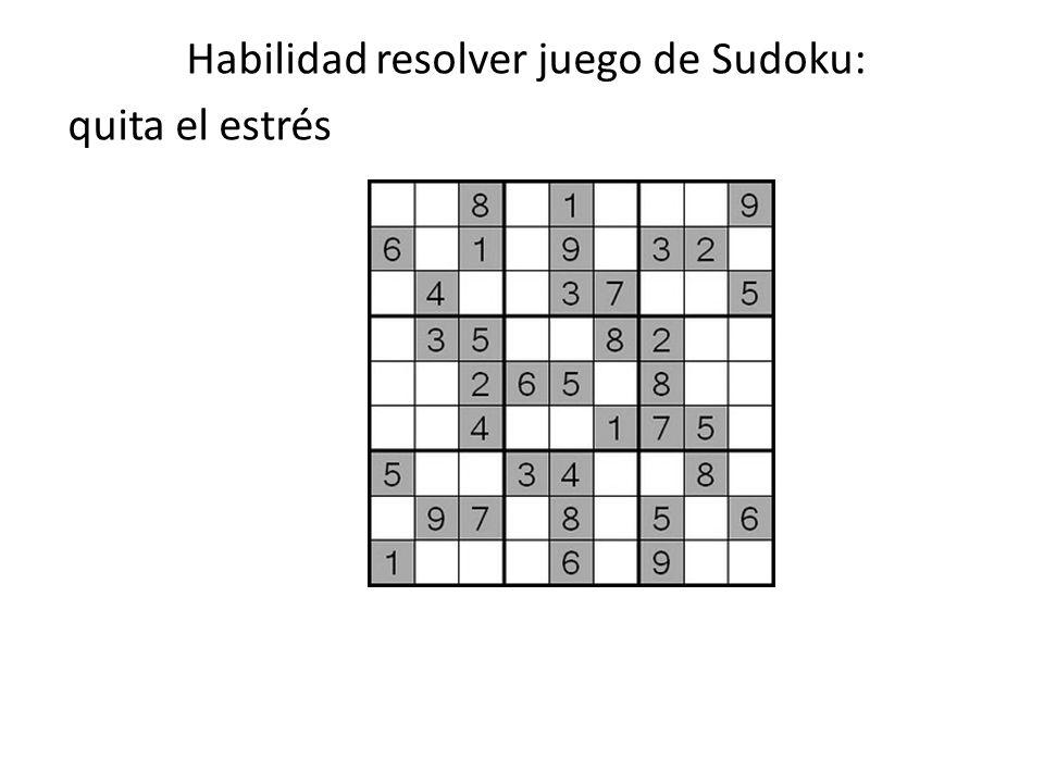 Habilidad resolver juego de Sudoku: