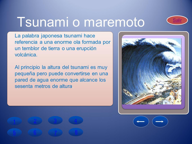 Tsunami o maremoto Salir. La palabra japonesa tsunami hace referencia a una enorme ola formada por un temblor de tierra o una erupción volcánica.