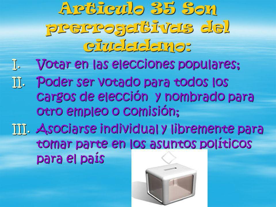 Articulo 35 Son prerrogativas del ciudadano: