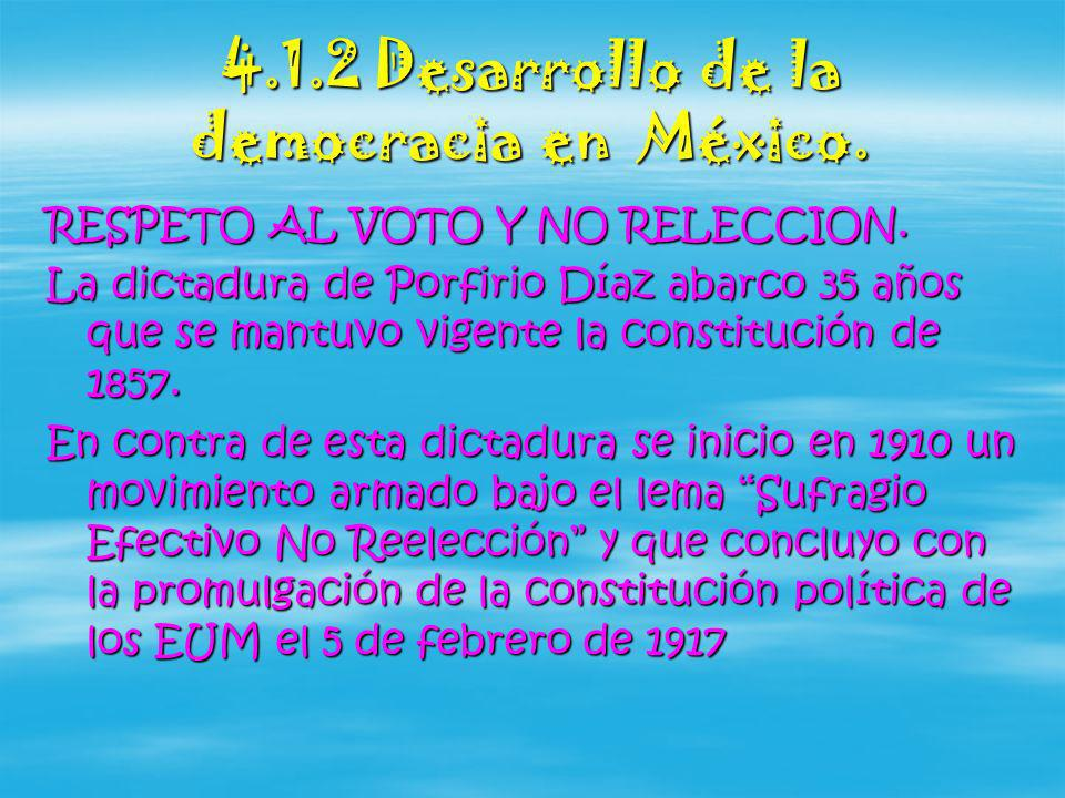 4.1.2 Desarrollo de la democracia en México.