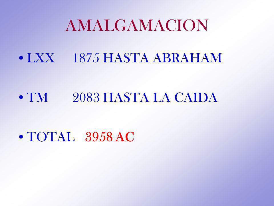 AMALGAMACION LXX 1875 HASTA ABRAHAM TM 2083 HASTA LA CAIDA