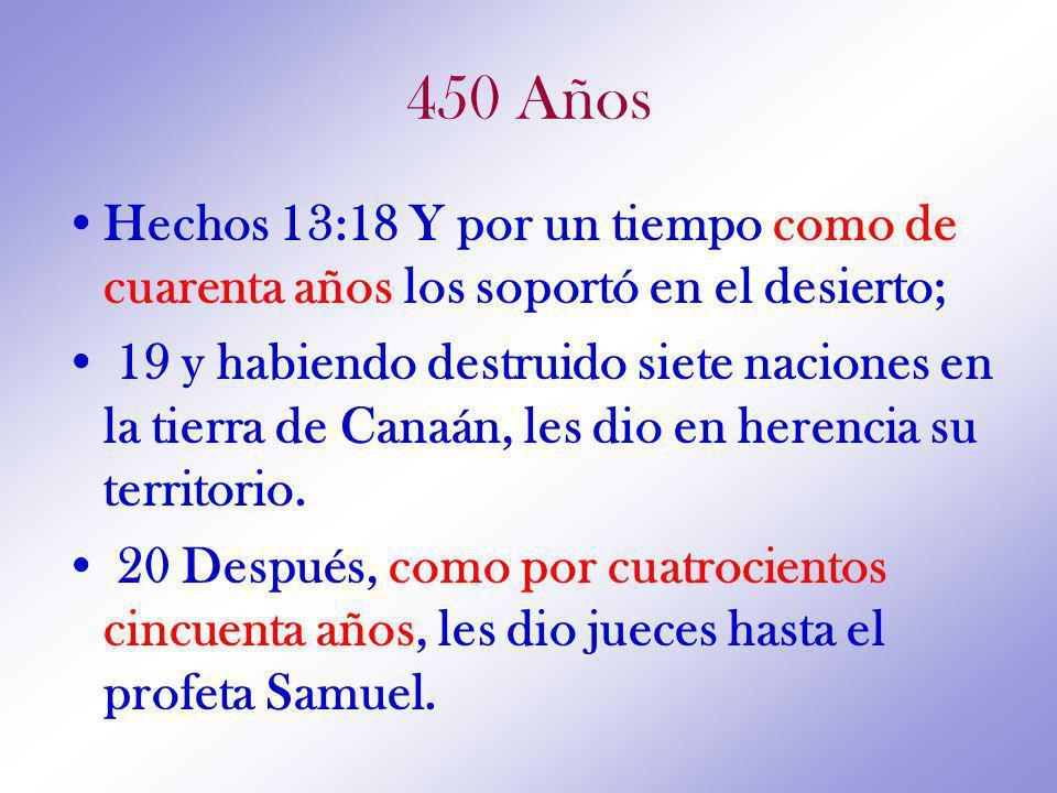 450 Años Hechos 13:18 Y por un tiempo como de cuarenta años los soportó en el desierto;