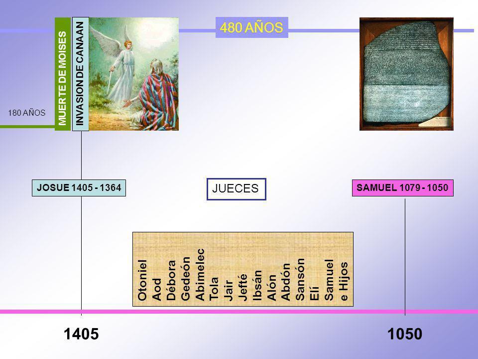 1405 1050 480 AÑOS Abimelec Otoniel Gedeón Débora Sansón Samuel Abdón