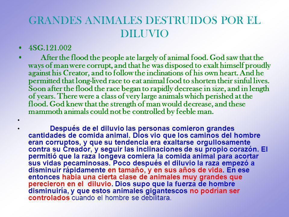 GRANDES ANIMALES DESTRUIDOS POR EL DILUVIO
