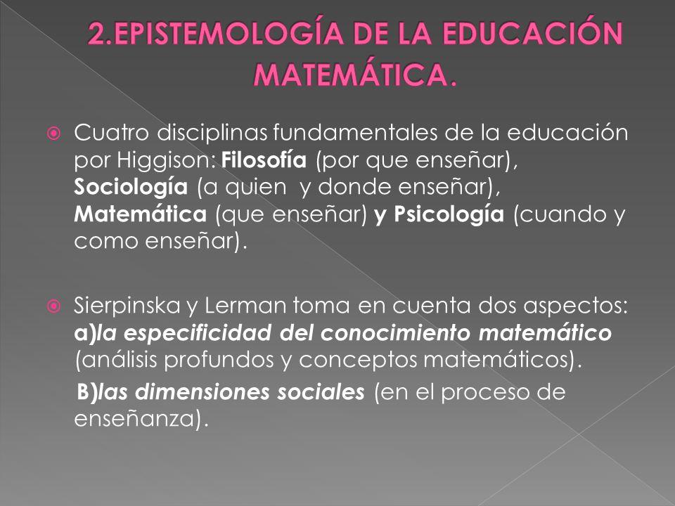 2.EPISTEMOLOGÍA DE LA EDUCACIÓN MATEMÁTICA.