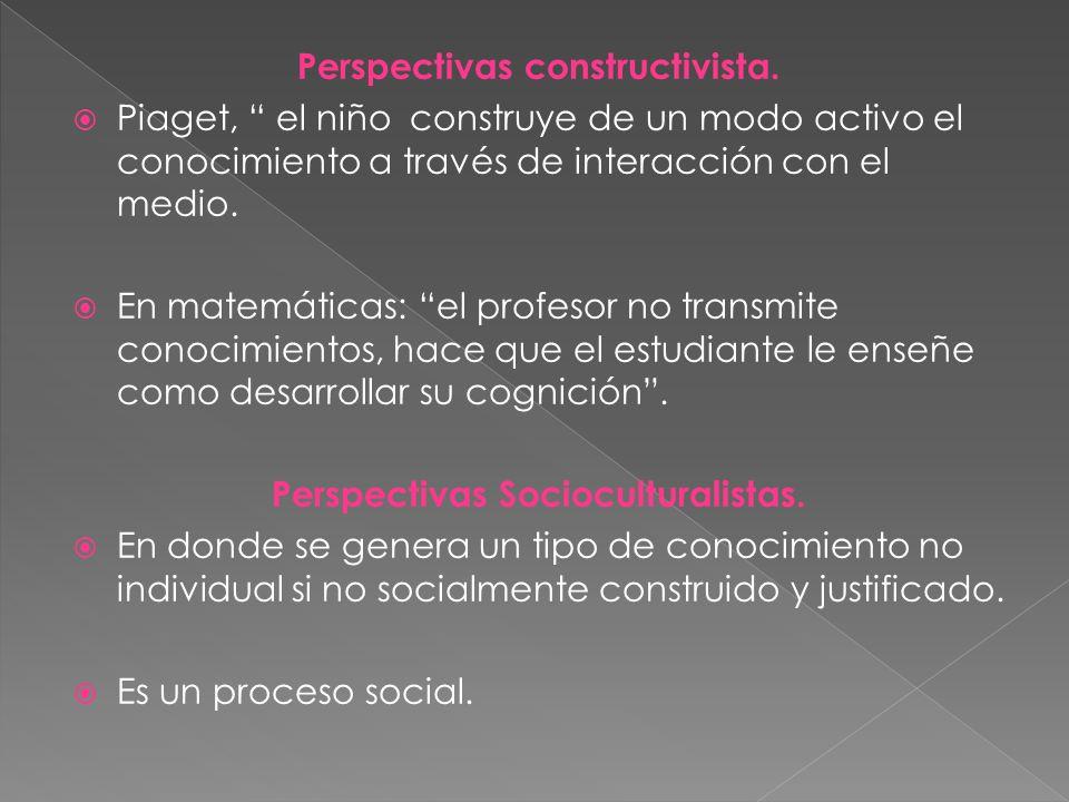 Perspectivas constructivista. Perspectivas Socioculturalistas.