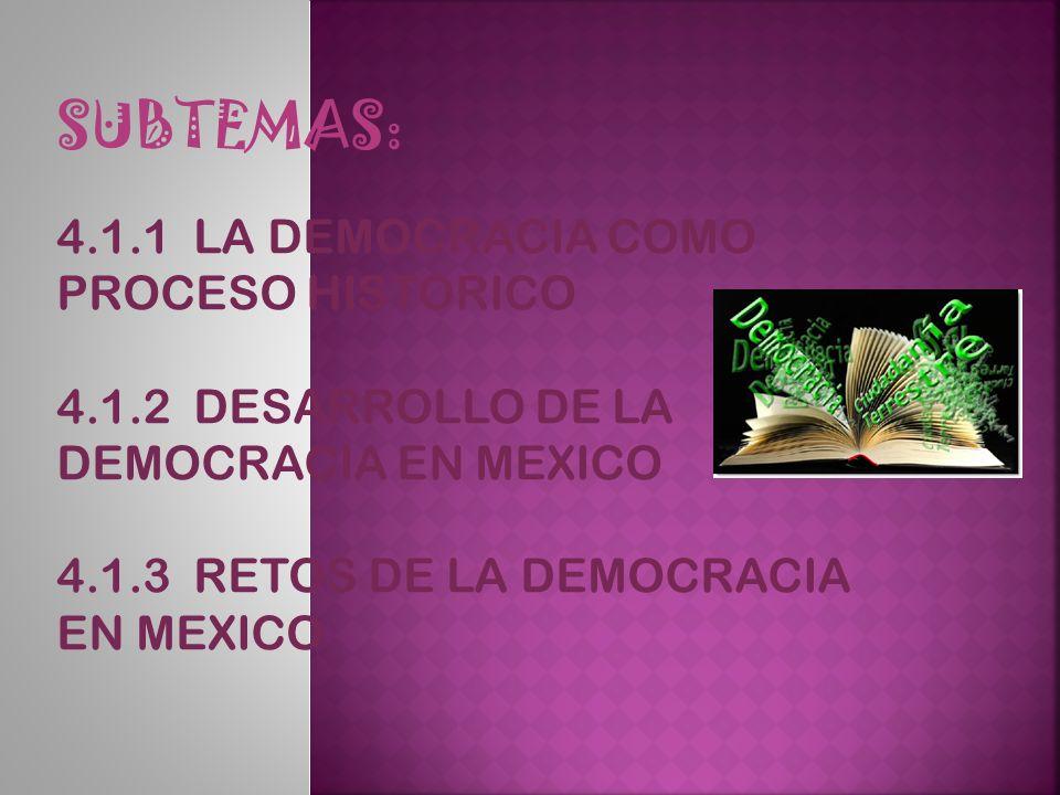 SUBTEMAS: 4.1.1 LA DEMOCRACIA COMO PROCESO HISTORICO