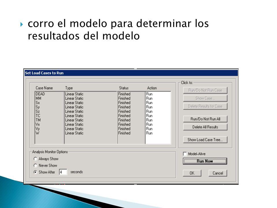 corro el modelo para determinar los resultados del modelo