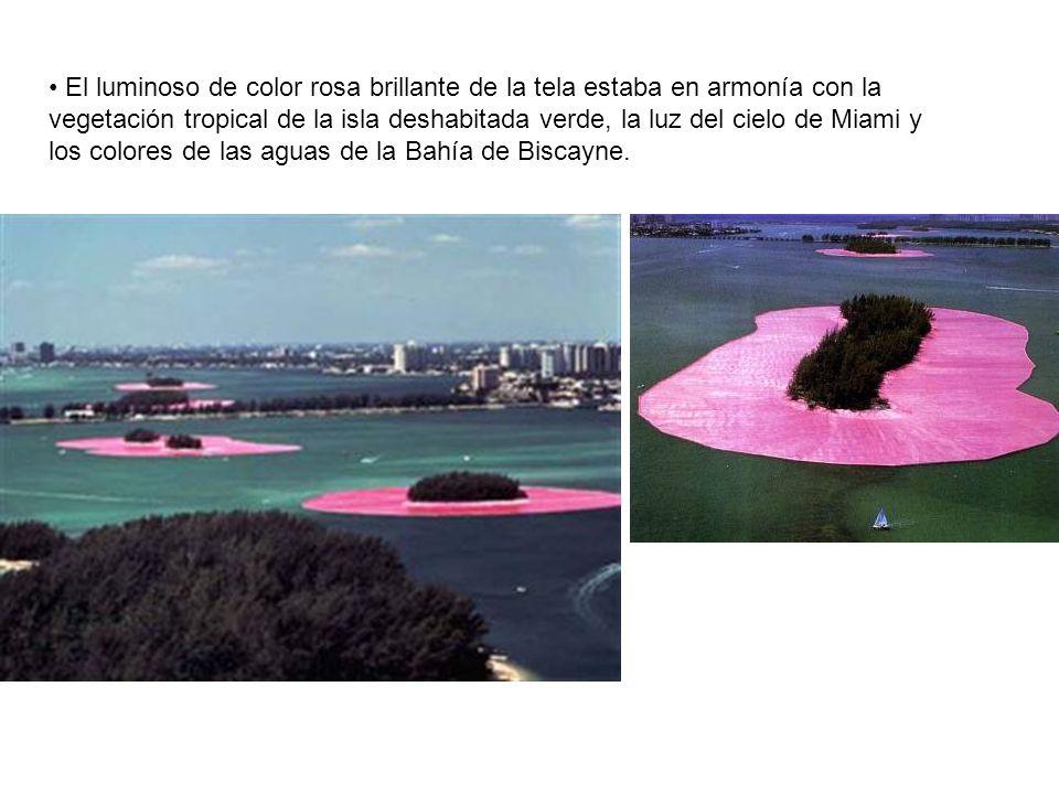 El luminoso de color rosa brillante de la tela estaba en armonía con la vegetación tropical de la isla deshabitada verde, la luz del cielo de Miami y los colores de las aguas de la Bahía de Biscayne.