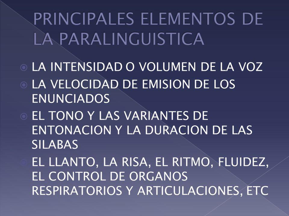 PRINCIPALES ELEMENTOS DE LA PARALINGUISTICA