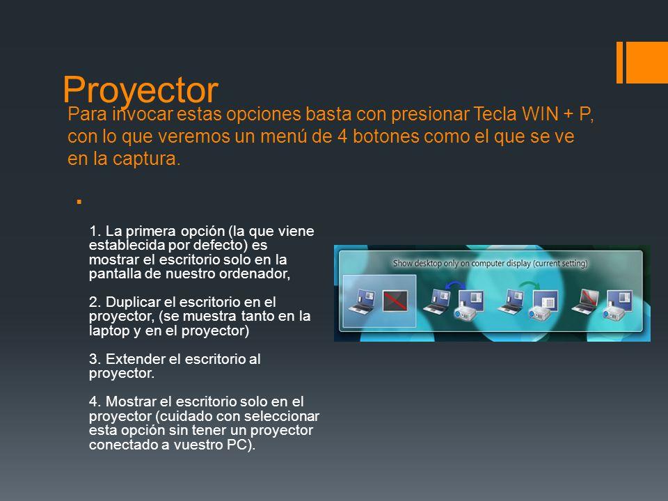 Proyector Para invocar estas opciones basta con presionar Tecla WIN + P, con lo que veremos un menú de 4 botones como el que se ve en la captura.