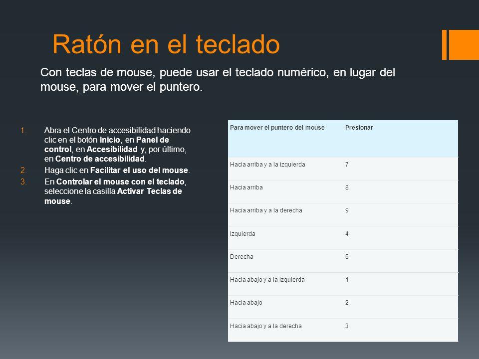 Ratón en el teclado Con teclas de mouse, puede usar el teclado numérico, en lugar del mouse, para mover el puntero.