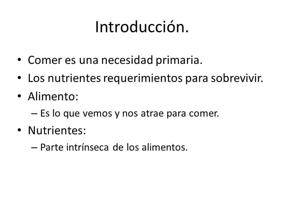 Introducción. Comer es una necesidad primaria.