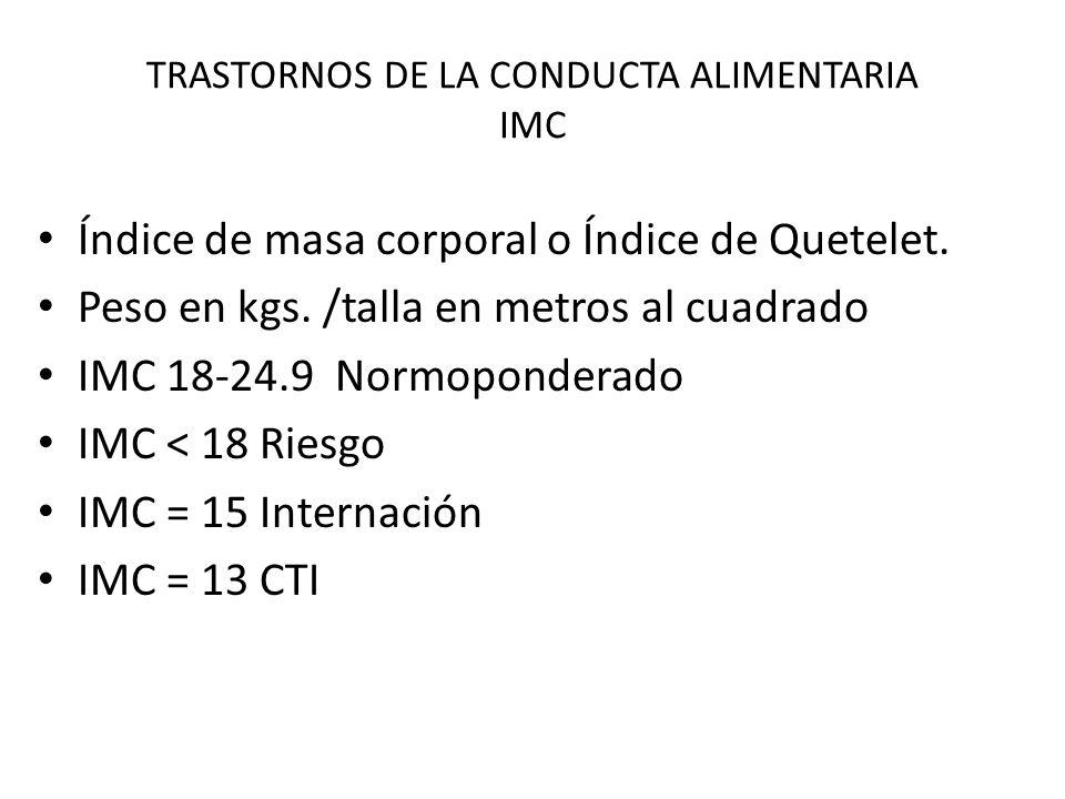 TRASTORNOS DE LA CONDUCTA ALIMENTARIA IMC