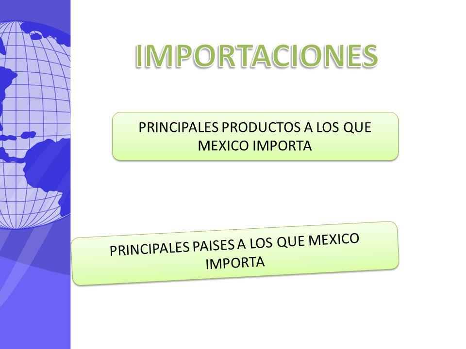 IMPORTACIONES PRINCIPALES PRODUCTOS A LOS QUE MEXICO IMPORTA
