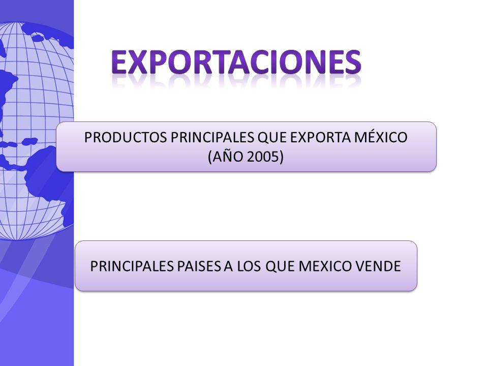Exportaciones PRODUCTOS PRINCIPALES QUE EXPORTA MÉXICO (AÑO 2005)