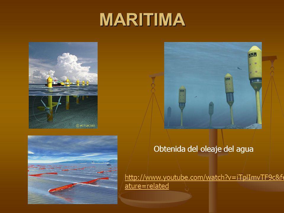 MARITIMA Obtenida del oleaje del agua
