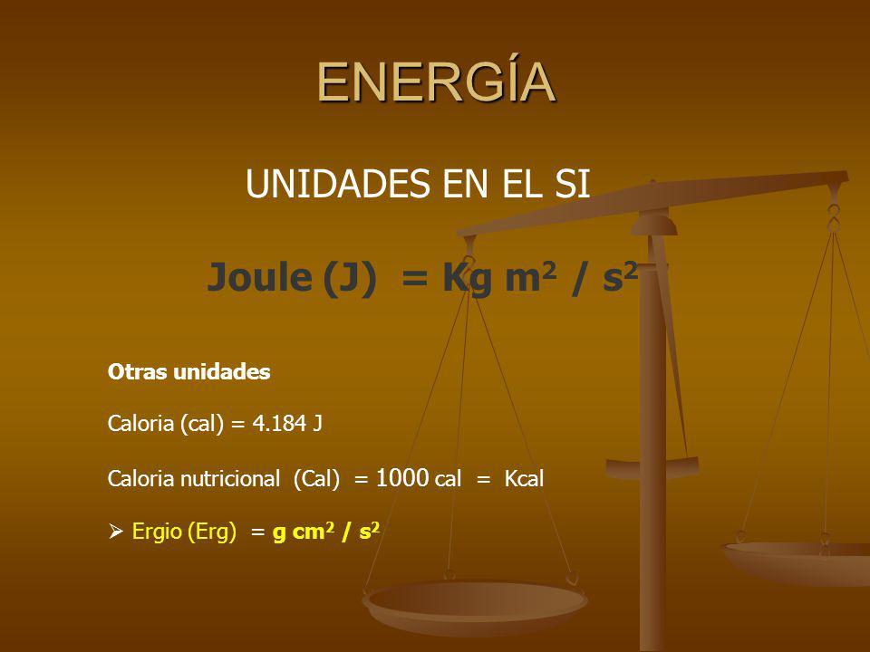 ENERGÍA UNIDADES EN EL SI Joule (J) = Kg m2 / s2 Otras unidades