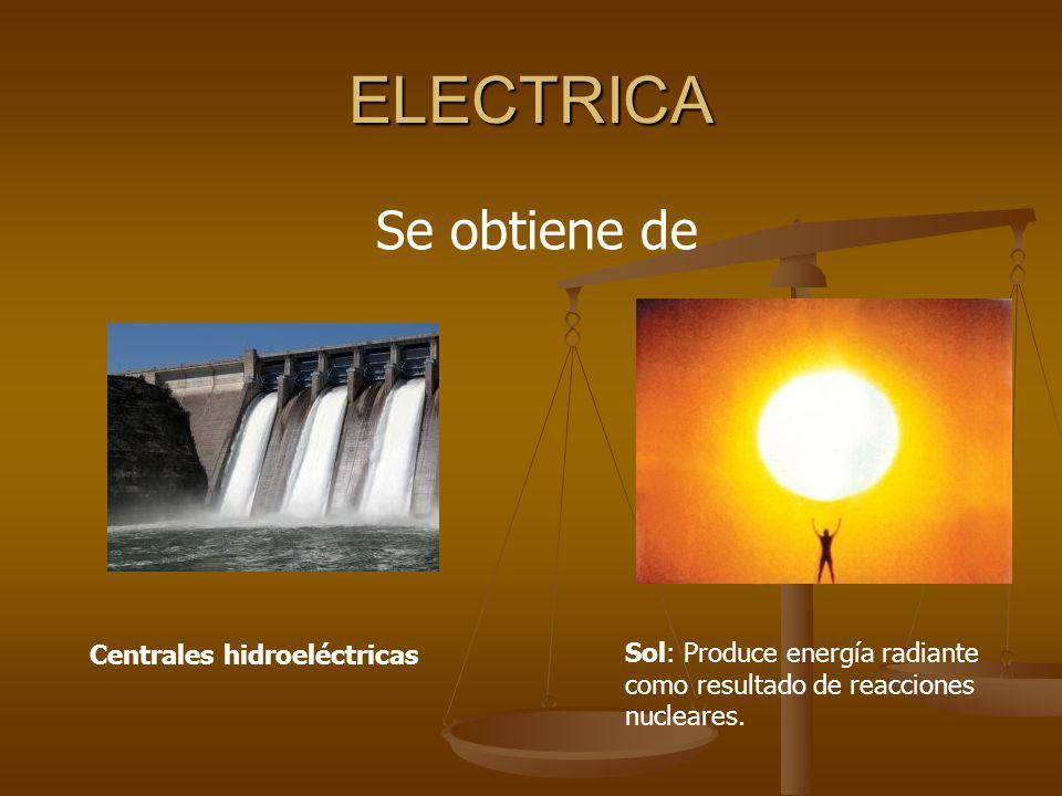 ELECTRICA Se obtiene de Centrales hidroeléctricas