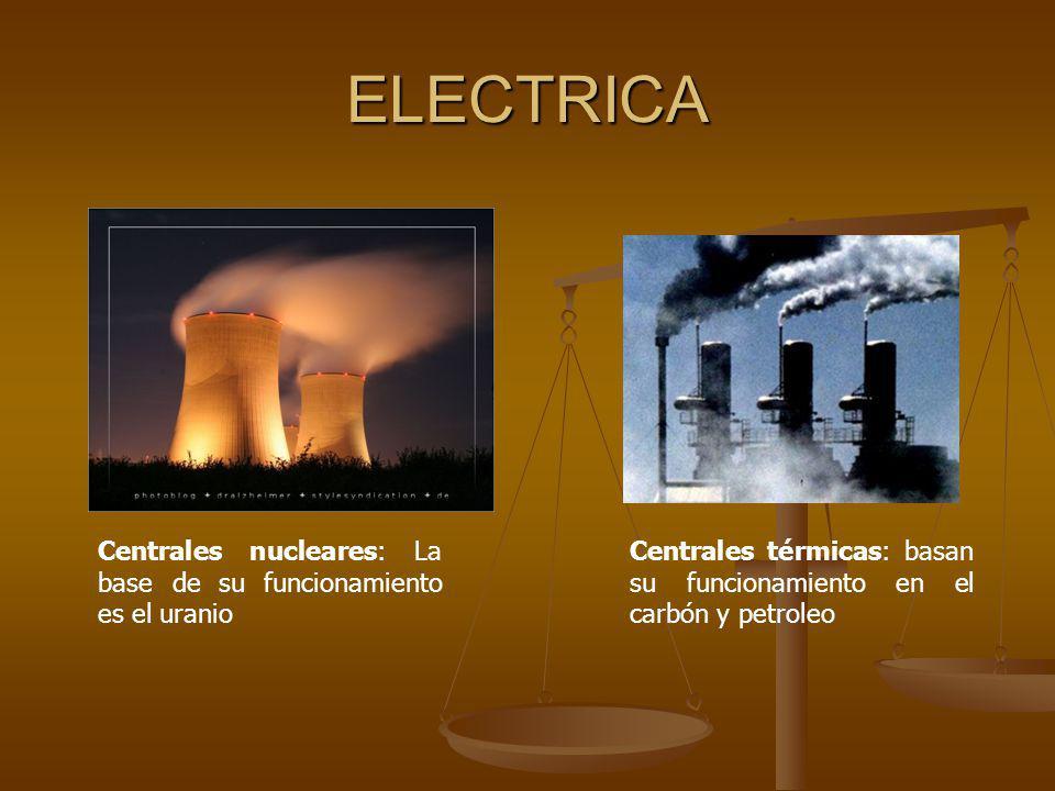 ELECTRICA Centrales nucleares: La base de su funcionamiento es el uranio.