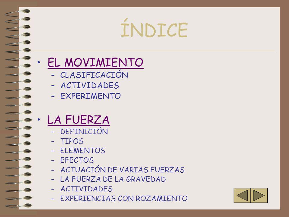 ÍNDICE EL MOVIMIENTO LA FUERZA CLASIFICACIÓN ACTIVIDADES EXPERIMENTO