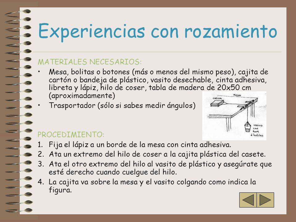 Experiencias con rozamiento