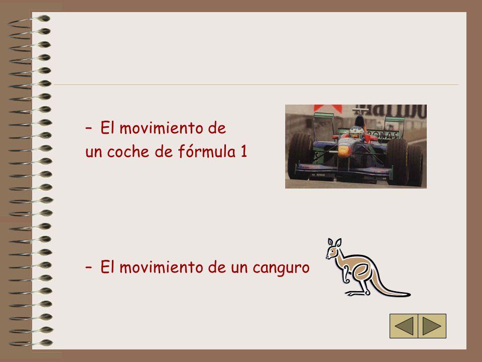 El movimiento de un coche de fórmula 1 El movimiento de un canguro