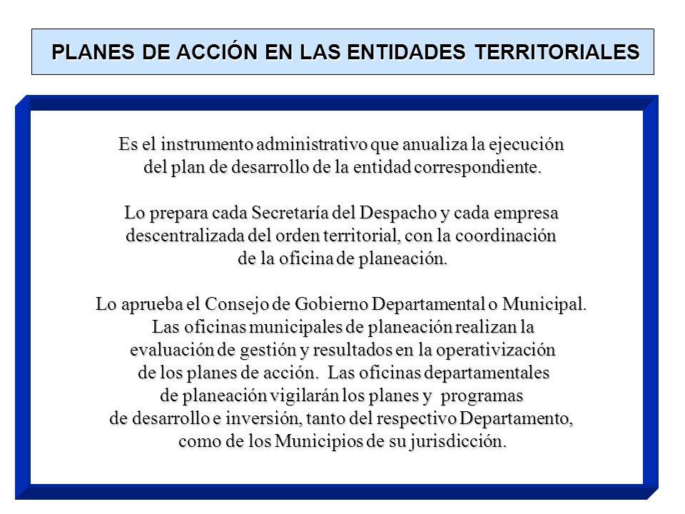 PLANES DE ACCIÓN EN LAS ENTIDADES TERRITORIALES