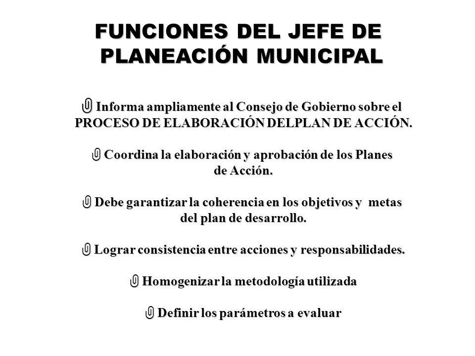 FUNCIONES DEL JEFE DE PLANEACIÓN MUNICIPAL