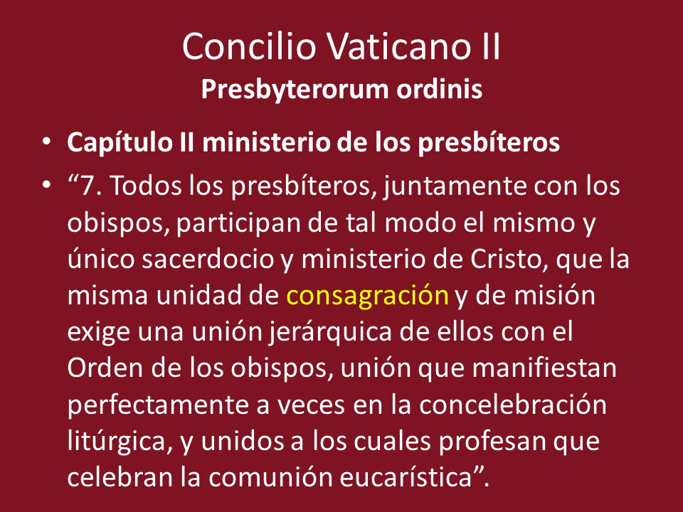 Concilio Vaticano II Presbyterorum ordinis
