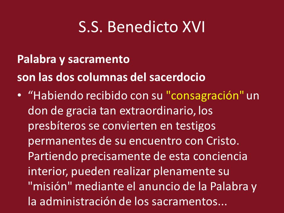 S.S. Benedicto XVI Palabra y sacramento