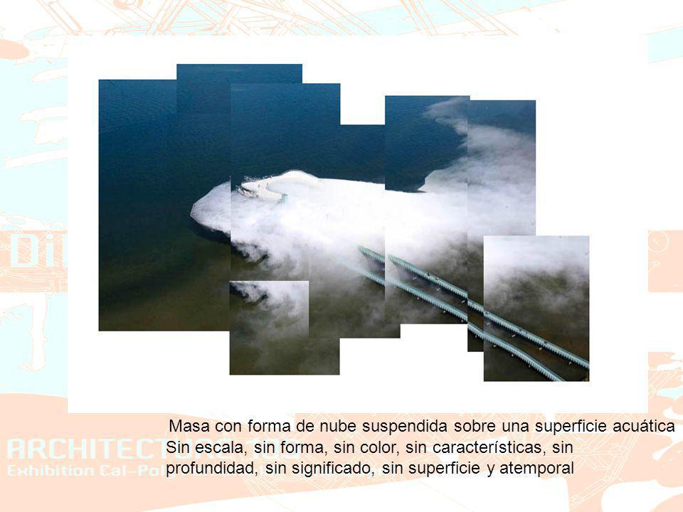 Masa con forma de nube suspendida sobre una superficie acuática