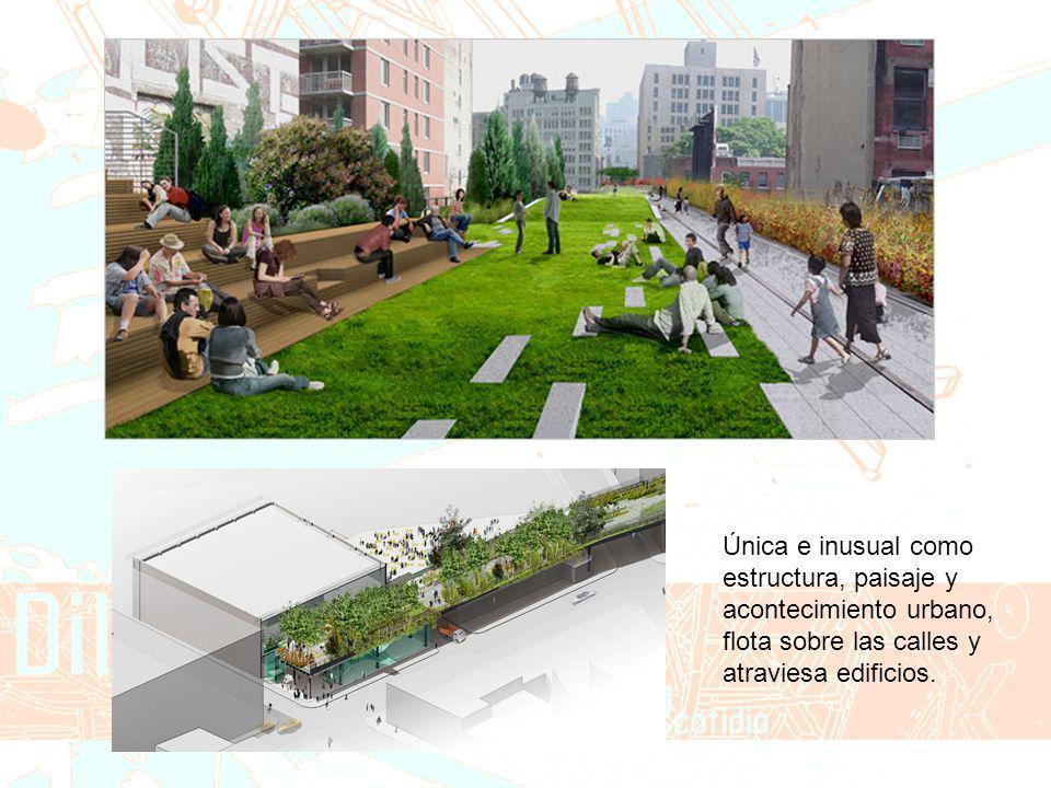 Única e inusual como estructura, paisaje y acontecimiento urbano, flota sobre las calles y atraviesa edificios.