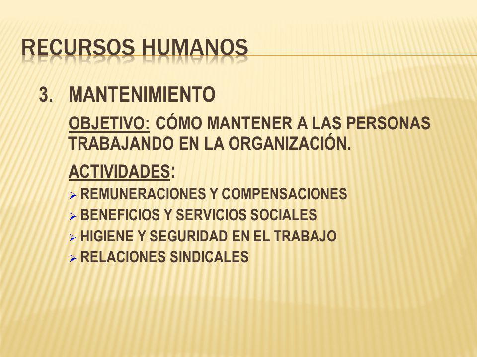 Recursos Humanos 3. MANTENIMIENTO