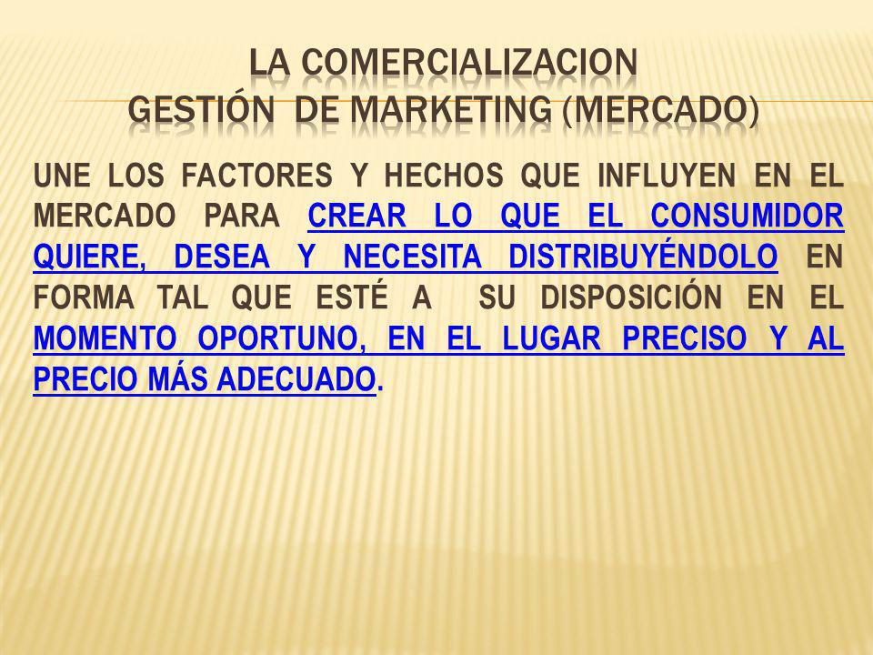 LA COMERCIALIZACION GESTIÓN de marketing (mercado)