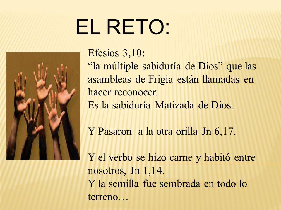 EL RETO: Efesios 3,10: la múltiple sabiduría de Dios que las asambleas de Frigia están llamadas en hacer reconocer.
