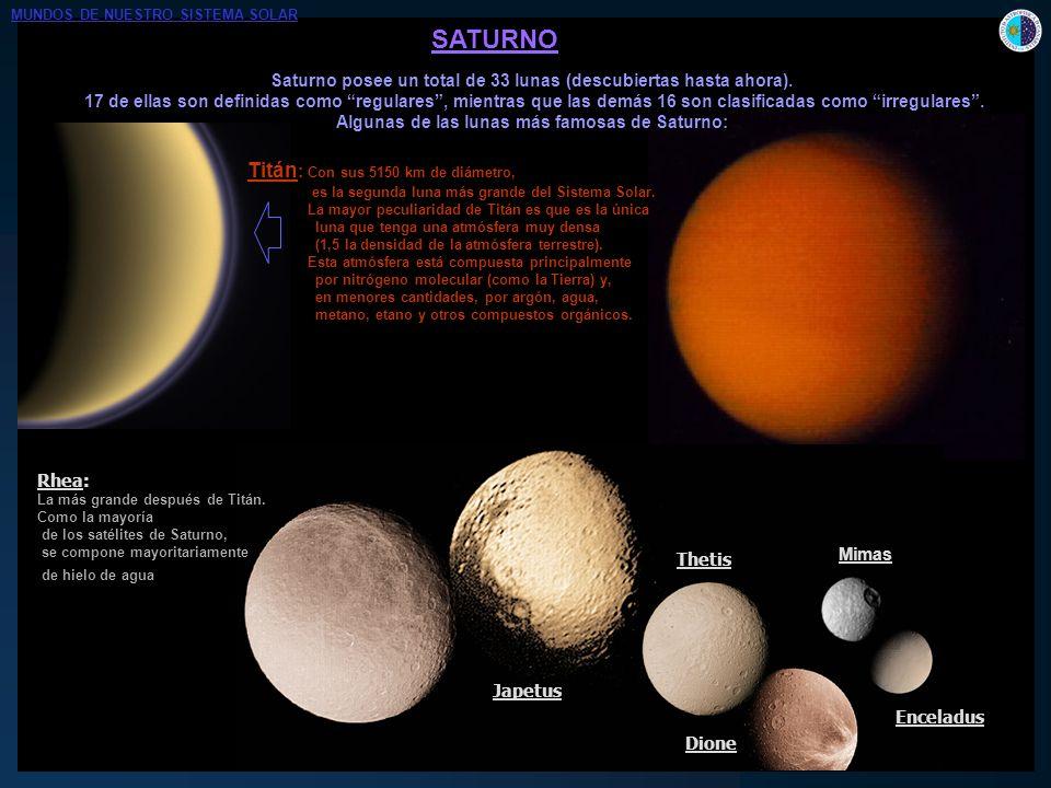 SATURNO Titán: Con sus 5150 km de diámetro,