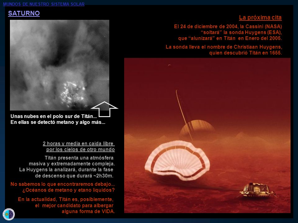 SATURNO La próxima cita El 24 de diciembre de 2004, la Cassini (NASA)