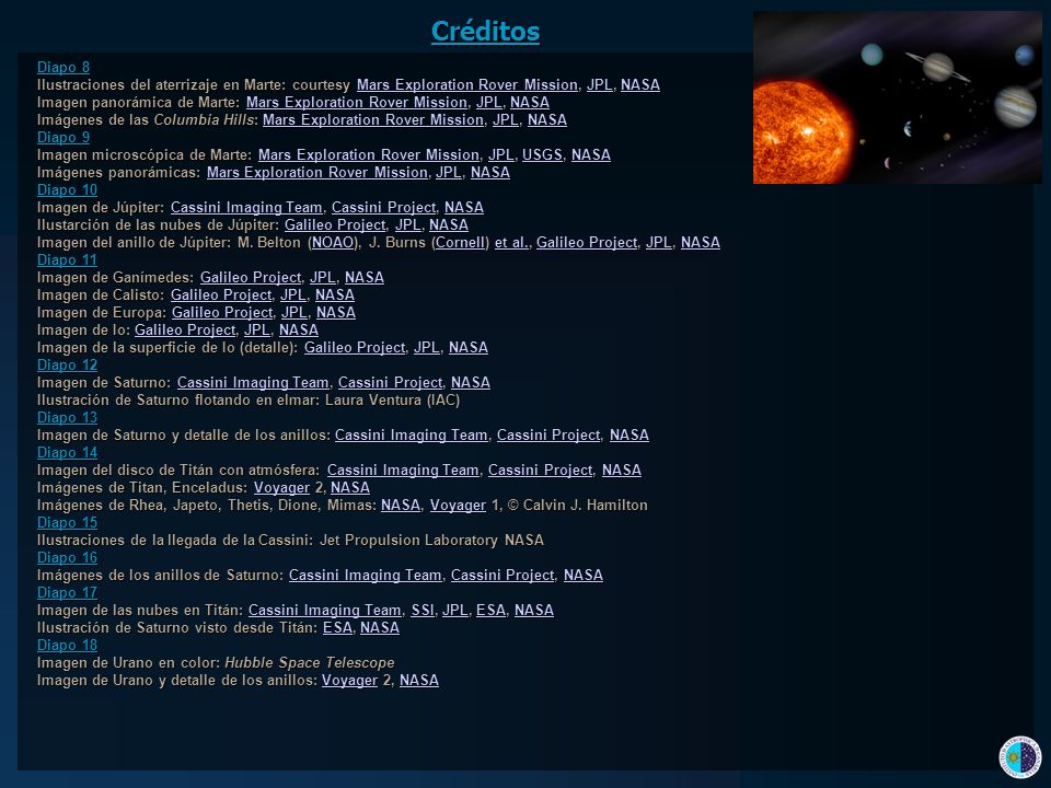 Créditos Diapo 8. Ilustraciones del aterrizaje en Marte: courtesy Mars Exploration Rover Mission, JPL, NASA.